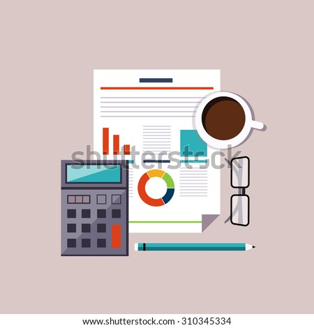 Financial accounting stock market analysis. Budget planning concept. Vector illustration - stock vector