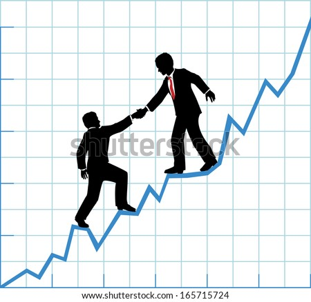 Financial adviser or business mentor help team partner up to company profit growth - stock vector