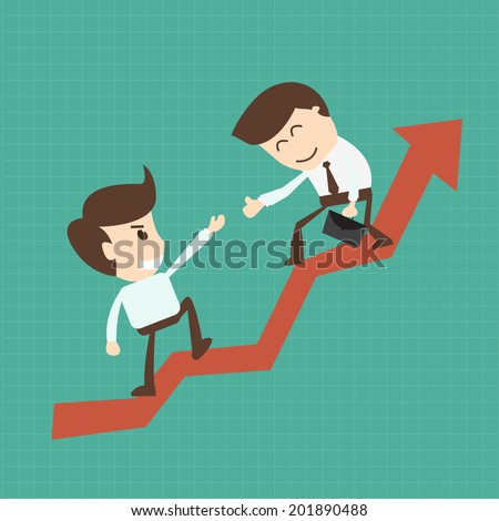 Financial adviser or business mentor help team partner up to profit growth  - stock vector