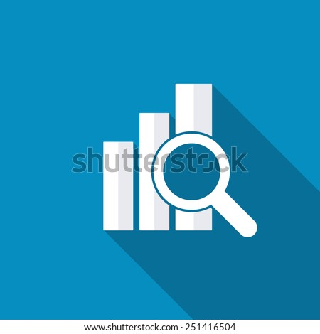Financial analysis, business analysis concept, magnifier glass with bar graph on blue background. Modern design flat style icon with long shadow effect - stock vector