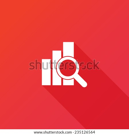 Financial analysis, business analysis concept, magnifier glass with bar graph on red background. Modern design flat style icon with long shadow effect - stock vector