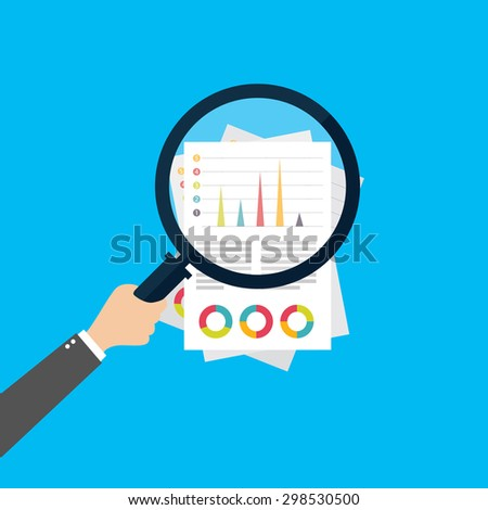 Financial analysis, business analysis concept, magnifier glass with bar graph on red background. Modern design flat style icon - stock vector