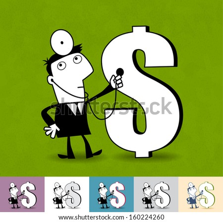 Financial analyst. Business cartoon illustration (EPS 10). Animation friendly: the elements (arms, heads etc) are in the separate layers. Seamless pattern on the background (its color can be changed) - stock vector