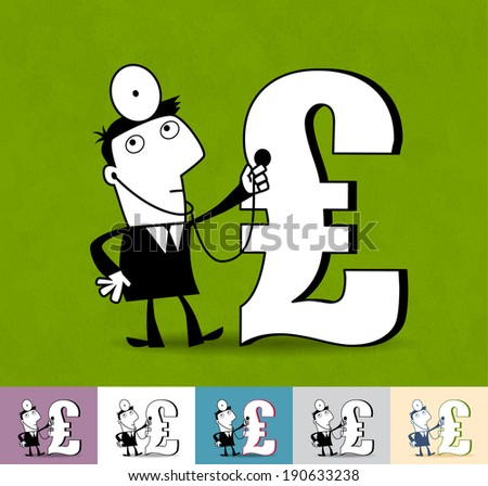 Financial analyst. Business illustration (EPS 10). Animation friendly: the elements (legs, arms, heads etc) are in the separate layers. Seamless pattern on the background (color can be changed) - stock vector