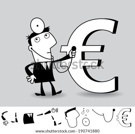 Financial analyst. Business illustration (EPS 8). Animation friendly: the elements (legs, arms, heads etc) are in the separate layers. Seamless pattern on the background (color can be changed) - stock vector