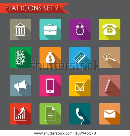 Financial and business flat icons - stock vector