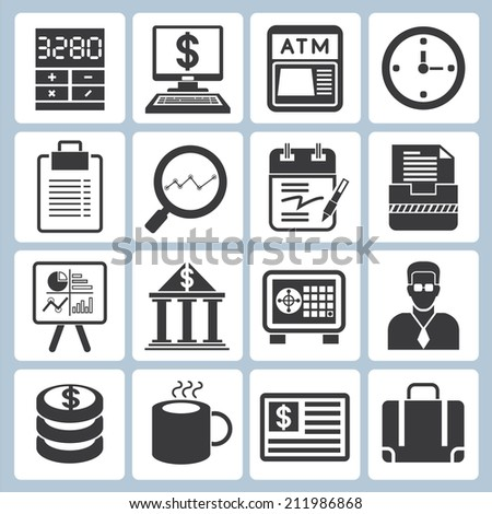 financial and business icons - stock vector