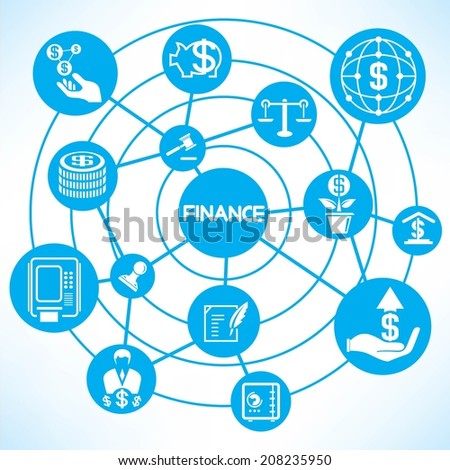 financial and investment concept info graphic network with blue theme - stock vector