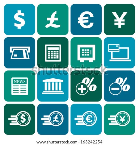 Financial and money icon set, flat design, vector illustration - stock vector