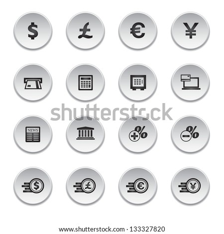 Financial and money icon set, round shape, vector - stock vector