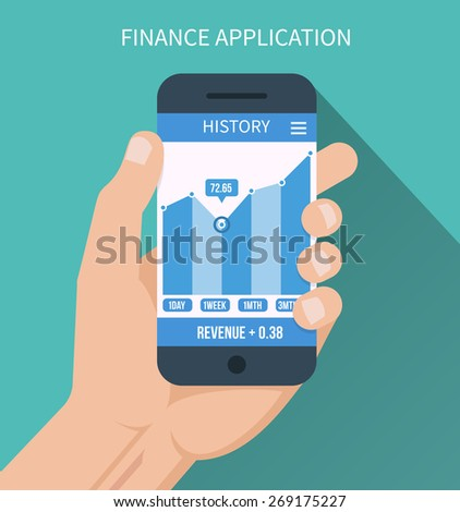 Financial application. Smart phone with business graph in hand. Forex index, economy report. Vector illustration