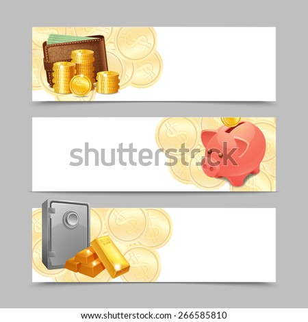 Financial banner horizontal set with realistic money wallet safe and piggy bank isolated vector illustration