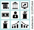 financial business icon set - stock vector
