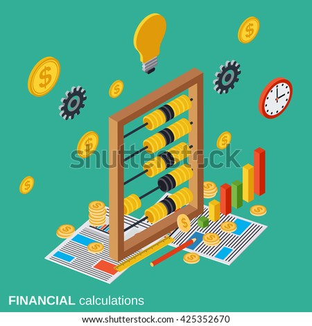 Financial calculations, budget planning, costs definition flat isometric vector concept illustration - stock vector