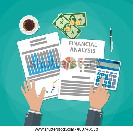 Financial calculations. Working process. businessman hands, calculator, financial reports, money, coins, pen, coffee cup. Top view. vector illustration in flat design on green background - stock vector