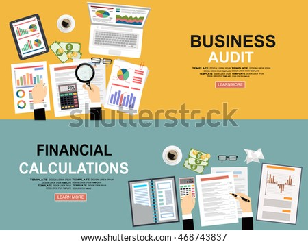 Financial calculations. Working process. businessman hands, calculator, financial reports, money, coins, coffee cup. Data analysis, document, market, strategic, report. Development Planning. Top view.