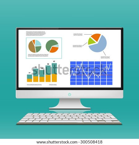 Financial charts and graphs on the computer monitor. Workplace broker. Stock Vector. - stock vector