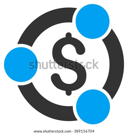 Financial Collaboration vector icon. Style is bicolor flat symbol, blue and gray colors, white background. - stock vector