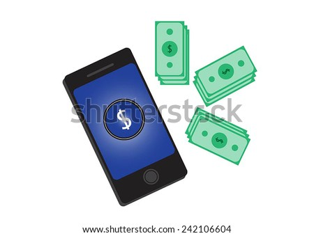 Financial Concept Make Money on the Internet with Mobile Smart Phone. - stock vector