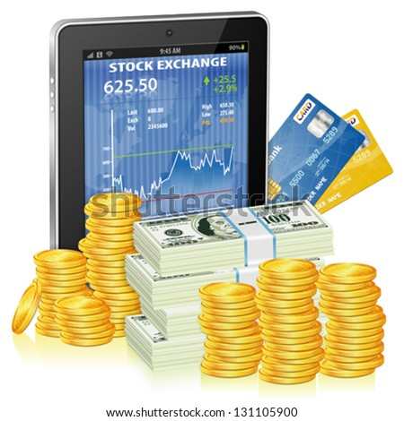 Financial Concept Make Money on the Internet with Tablet PC and Stock Market Application on Screen and Money, icon isolated on white, vector - stock vector