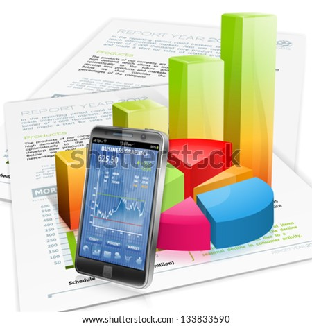 Financial Concept with Smartphone, Business Report and Graphs, vector isolated on white background - stock vector