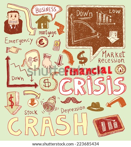 Financial crisis doodle, hand drawn illustration. - stock vector