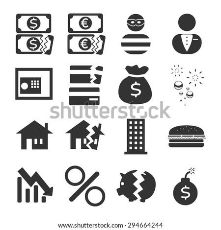 Financial crisis Icon Set - stock vector
