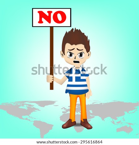 Financial Crisis in Greece, Greece man character showing a board with NO Vote - stock vector