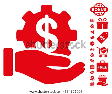 Financial Development Gear Hand icon with free bonus icon set. Vector illustration style is flat iconic symbols, red color, white background.