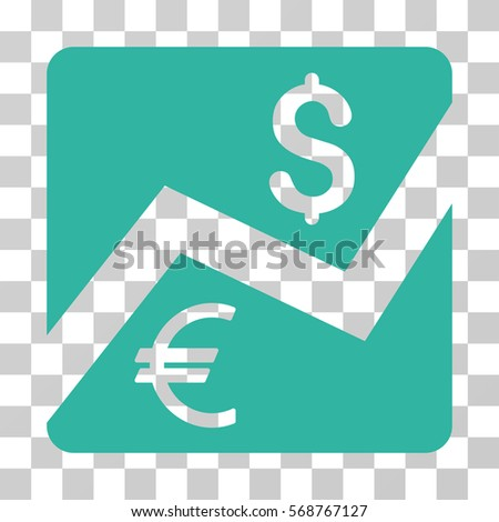 Financial Diagram icon. Vector illustration style is flat iconic symbol, cyan color, transparent background. Designed for web and software interfaces.