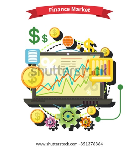 Financial diagram on a laptop monitor. News from finance market. Business stock exchange. Financial planning, accounting, corporate financial strategy. Price movement. Stock exchange rates flat design - stock vector