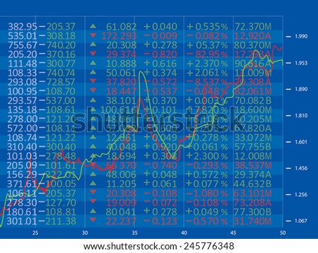 Financial diagram with candlestick chart used in stock market analysis for variation report of share prices - stock vector