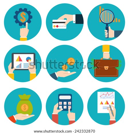 Financial examiner icon. Economic statistic icon. Vector illustration. Money in hands icons - stock vector