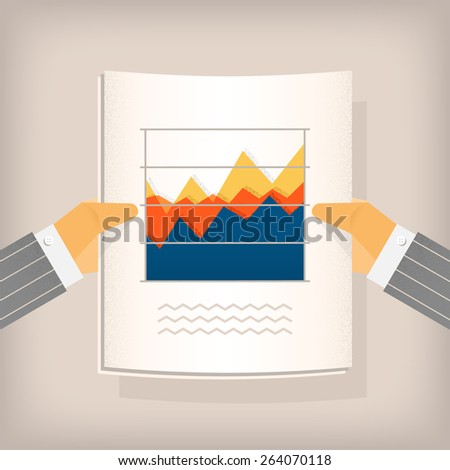 Financial Graph Businessmanâ??s hands holding a data graph. - stock vector
