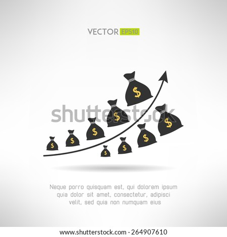 Financial graph with money bags. Income raise concept. Earnings chart. Vector illustration - stock vector
