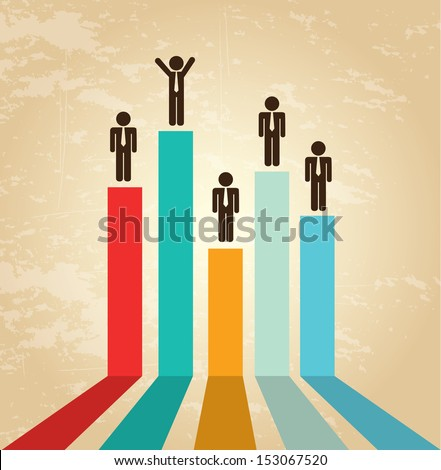 financial growth over vintage background vector illustration  - stock vector