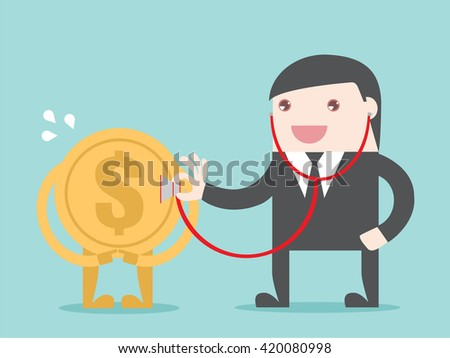 Financial health check. Businessman use stethoscope with coin money. Flat design for  business financial marketing banking advertisement concept cartoon illustration. - stock vector