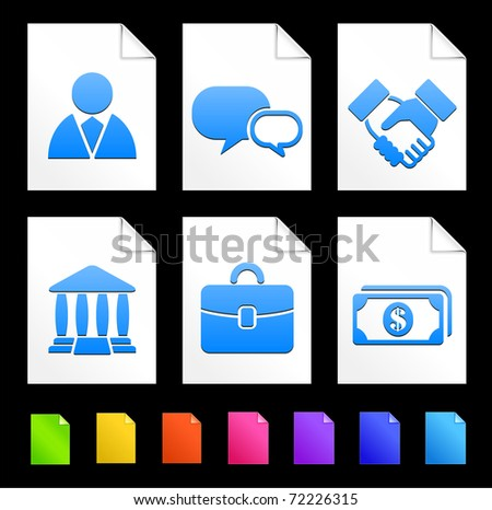 Financial Icons on Colorful Paper Document Collection Original Illustration - stock vector