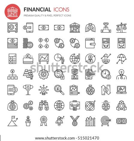 Financial Icons , Thin Line and Pixel Perfect Icons