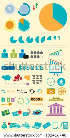 Financial Institutions Infographic Diversed Elements. EPS10 Vector Illustration Clip art  - stock vector