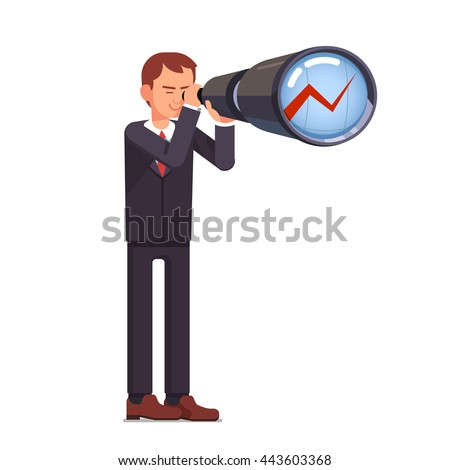 Financial investment forecasting. Business man stock market trading broker looking ahead through spyglass on a growth chart. Flat style vector character illustration. - stock vector