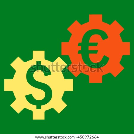 Financial Mechanics vector icon. Style is bicolor flat symbol, orange and yellow colors, green background.