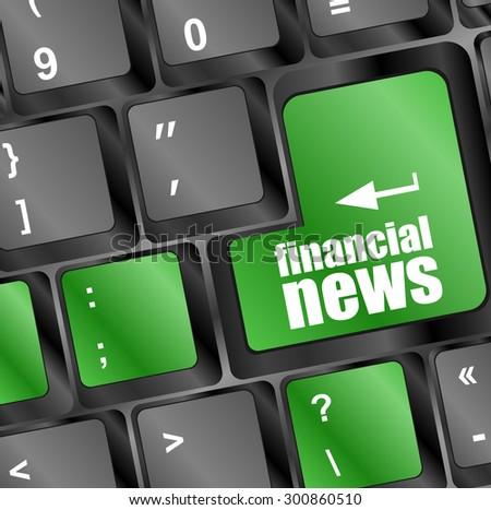 financial news button on computer keyboard key. vector illustration - stock vector