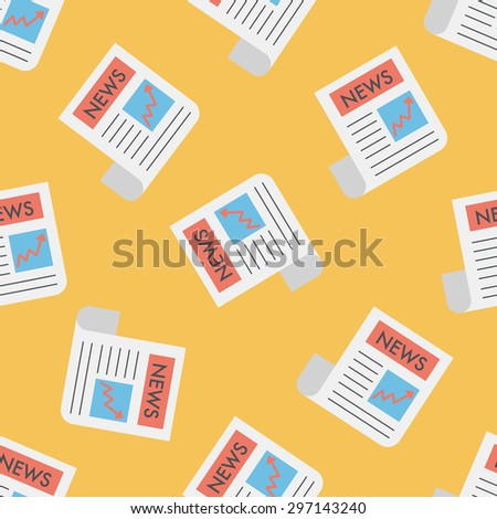 financial news flat icon,eps10 seamless pattern background - stock vector