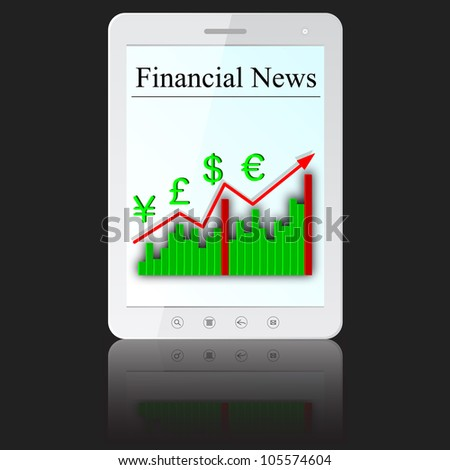 Financial News on white tablet PC computer  isolated on white background. Vector  illustration.