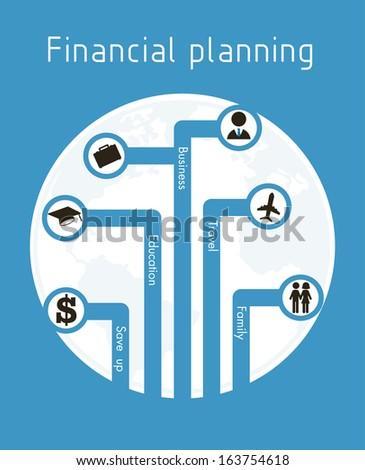 financial planning illustration over blue  background. vector illustration  - stock vector