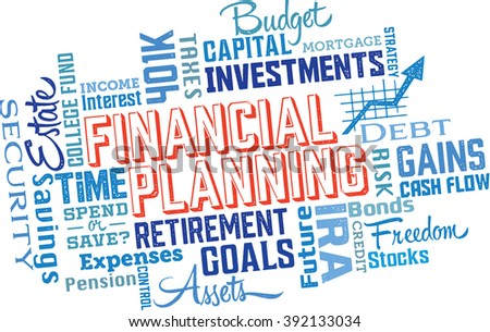 Financial Planning Services Word Cloud Collage - stock vector