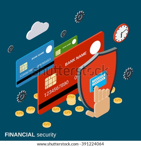 Financial security, online banking, web transfer, money protection flat 3d isometric vector concept illustration