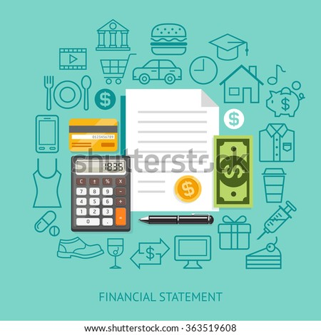 Financial Statement Conceptual Flat Style. Vector Illustration. Can Be Used For Workflow Layout Template, Banner, Diagram, Number Options, Web Design, Infographics, Timeline. - stock vector