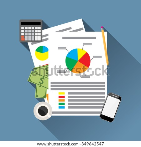 Financial Statement with chart and graph. calculator, money, smartphone and coffee. Vector illustration in flat design  for business concept.